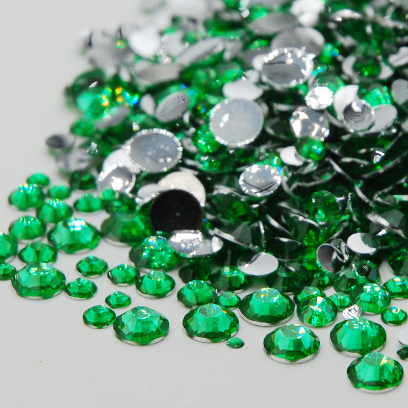 New Round Acrylic Rhinestones Green Zircon Color Mixed Sizes Flat Back 3D font b Nail b