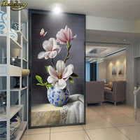 beibehang Custom Photo Wallpaper Mural New Chinese painting Blue and white porcelain Magnolia Butterfly Entrance wall paper