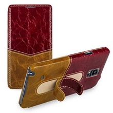New Arrival Back Protective Phone Cover Genuine Leather Protector Case with Stand Holder for Samsung Galaxy Note4 Note IV N9100