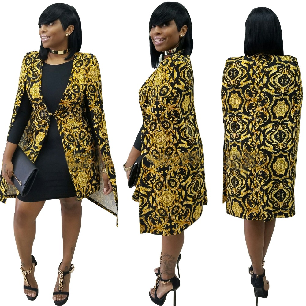 blaser femenino 2016 Autumn Women Long Sleeve Geomertical Printed Cloak Cape Blazer Fashion Gold Club Party Long Outwear Blazer