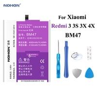 Nohon 4100mAh Battery For Xiaomi Redmi 3 3S 3X 4X BM47 Redmi3 Redmi3S Redmi3X RedMi4X Built