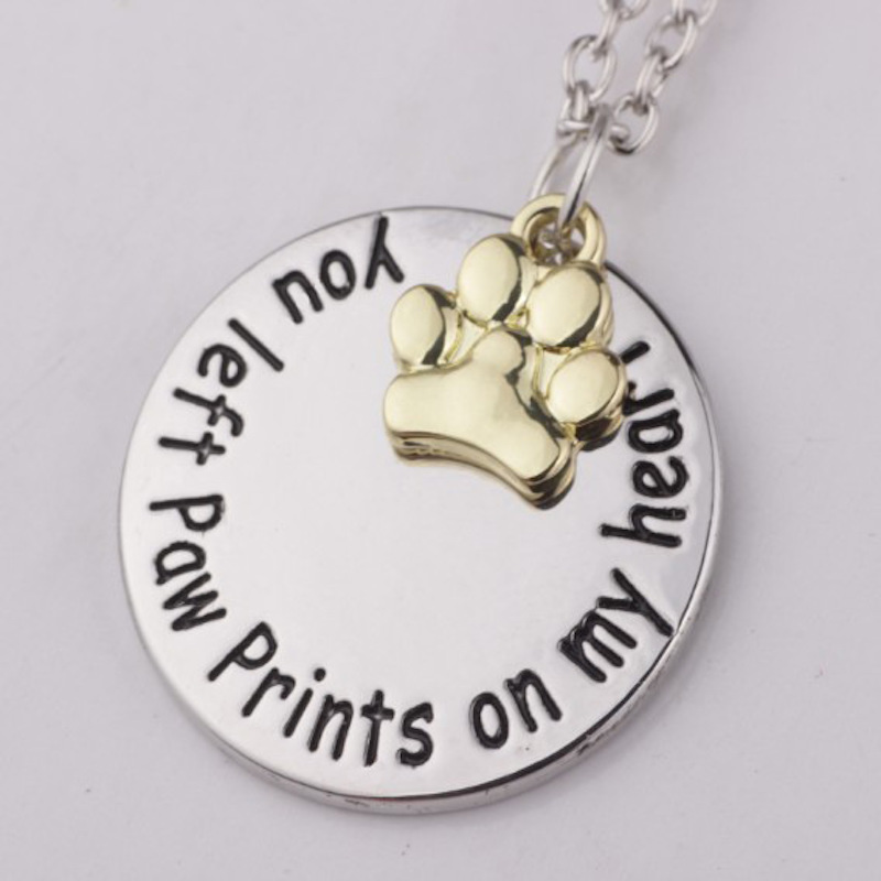 3pcs You Left Paw Prints on My Heart no longer...in my heart Retro Silver Pendant Necklace with Forever Christmas Day Gift