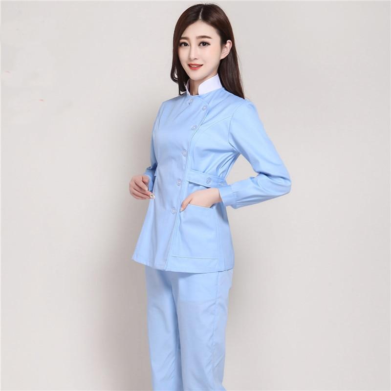 Fashion Stand Collar Winter Long Sleeve Medical Nurse Uniforms Hospital Beauty Salon Pharmacy Dental Clinic Workwear Overalls