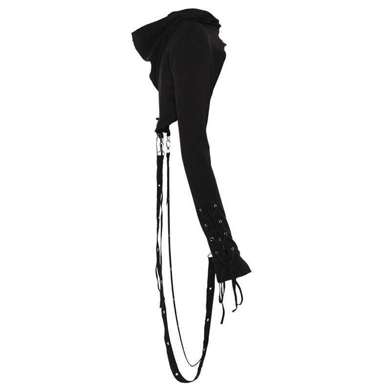 שחור הסווטשרט נשים ארוך שרוול גותי קצר נים ליל כל הקדושים פנסי יבול סווטשירט תלבושות נקבה סלעית חולצות