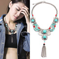 Bohemian Style Antique Silver Resin Turquoise Bead Metal Tassel  Pendant Fringe Bib Necklace Turkish Ethnic Boho Necklace