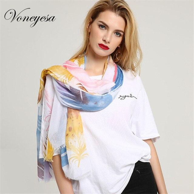 Voneyesa Date Femmes Printemps Écharpe 2018 De Mode Long Imprimé  Caractéristique Coton Foulards Hijab Écharpe Femmes 5f73eeb8907
