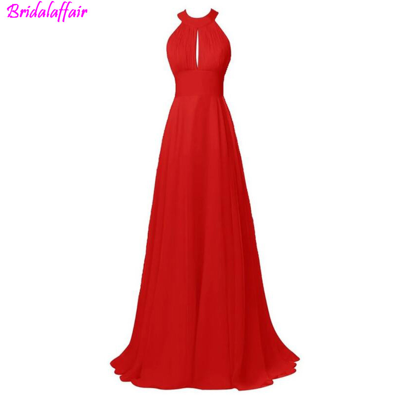 Elegant Red Halter A-line Sweep Train Prom Dress Fast Shipping 2019 Backless Chiffon Long Plus Size Evening Vestido Longo