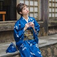 Women's Yukata Traditional Japan Kimono Robe Photography Dress Cosplay Costume Dark Blue Color Crane Prints Vintage Clothing