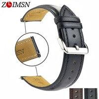 ZLIMSN 12 14 16 21 23mm Genuine Leather Watchbands On Sale Black Brown Watch Band Strap