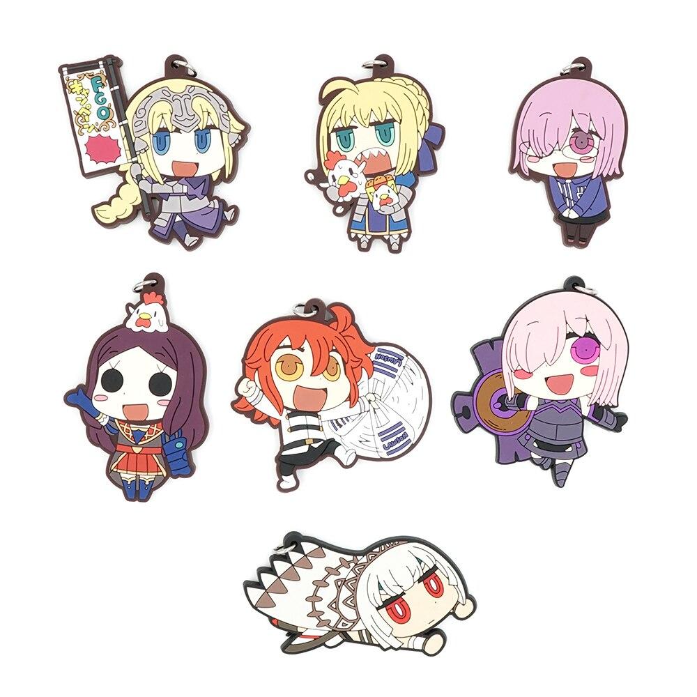 Fate Grand Order Anime Matthew Kyrielite Saber Saber Gudako DaVinci Altila Etzel Strap Rubber Keychain аниме футболки шляпы одежда a promise animation fate zero saber