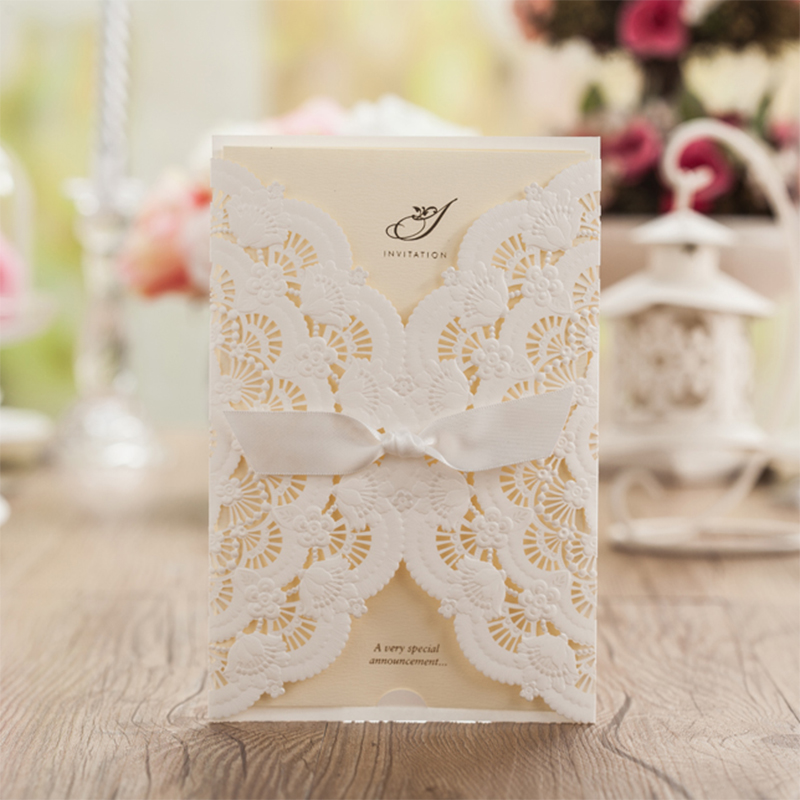 Lace Butterfly Flowers Laser Cut White Bow Wedding invitations Printing Blank Elegant Invitation Card Kit Casamento Convite square design white laser cut invitations kit blanl paper printing wedding invitation card set send envelope casamento convite