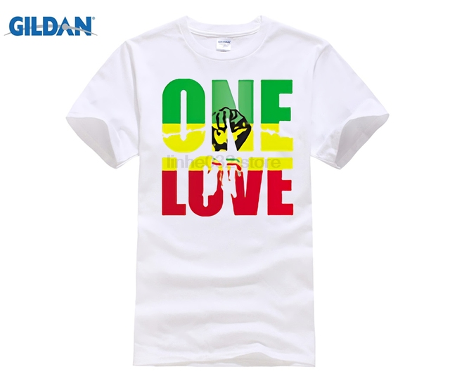 e82f659655684e Bob Marley One Love Jamaica Reggae Hip Hop Rap Music Cool Mens T Shirt Plus  Size Euro tshirt Custom Personalized Shirts