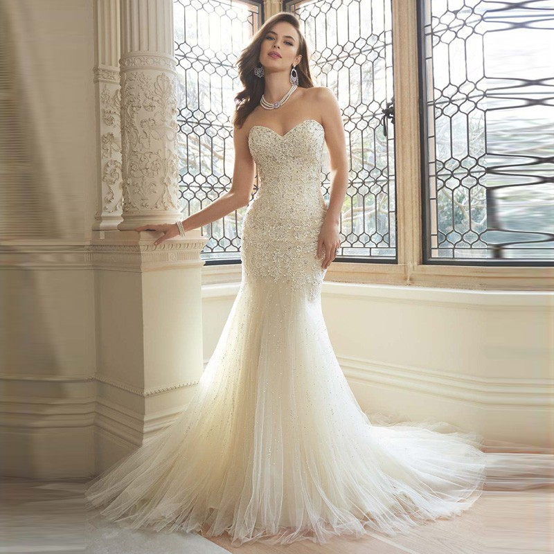 e06db893789e Stunning Beads Appliques Tight Mermaid Wedding Dresses Ivory Tulle Bridal  Gown Vintage Vestido De Noiva Customized 2017