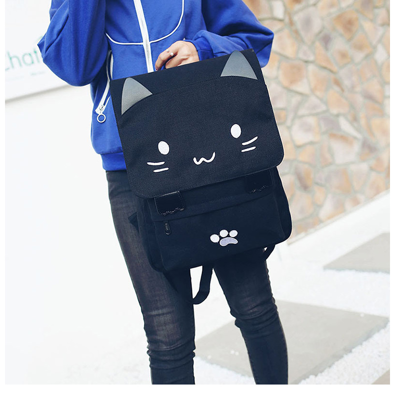 Cute Cat Canvas Backpack Cartoon Embroidery Backpacks For Teenage Girls School Bag Fashio Black Printing Rucksack mochilas XA69H