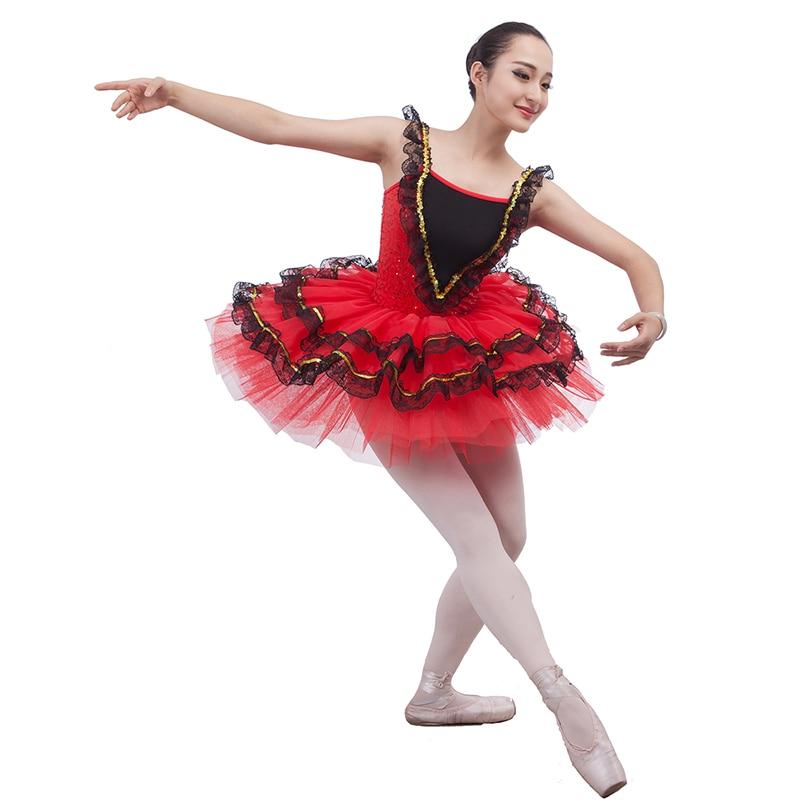 Hot Red Spanish Style Ballet Tutu Dress Women Girls