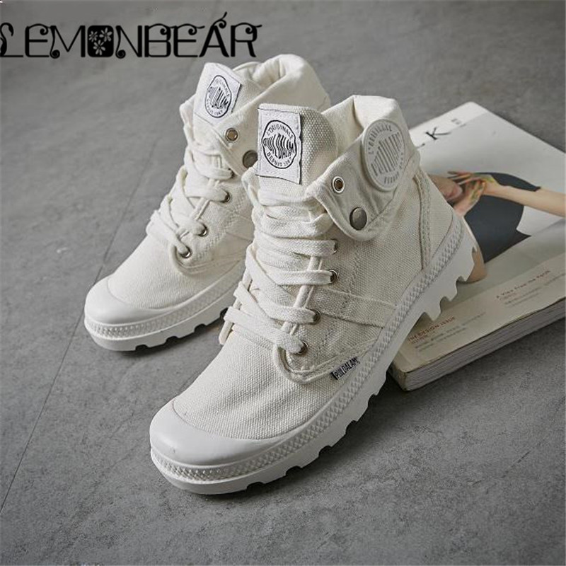 2018 Fashion High Top Sneakers Canvas Shoes Women Casual Shoes White Flat Female Basket Lace Up Solid Trainers Chaussure Fabric