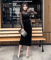 Women High Aist Velour Tulle Sexy Glittering High Collar Long Sleeves Dress Elegant Evening Black Dress With Sling Two piece S