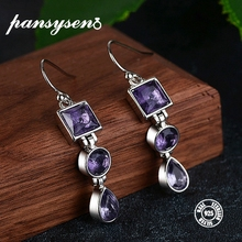 PANSYSEN New Arrival Silver 925 Jewelry Drop Earrings For Women Fashion Elegant Amethyst Dangle Wedding Wholesale Gift