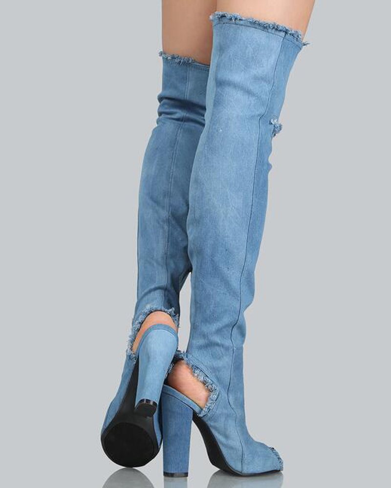 Tacón Talón Rodilla Sobre Dedo Pie De Cuadrado Calidad Mujeres Gruesa Manera Alto Corte Moda Denim Largo La Zapatos Vestido Del Abierta Las Botas Alta HPOYxqw
