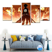 Modular HD Printing 5 Panel Home Decor Childrens Room Mural Wall Art Manga Cloth Painting Poster Attack Giant