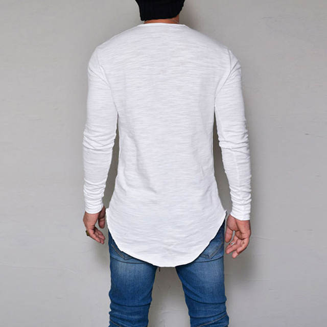 86bd49ce2987 Men's Slim Fit O Neck Long Sleeve Muscle Tee Hipster T shirt Casual Tops  Blouse Hip Hop Basic Curved Hem T Shirt Fall NQ820408-in T-Shirts from Men's  ...
