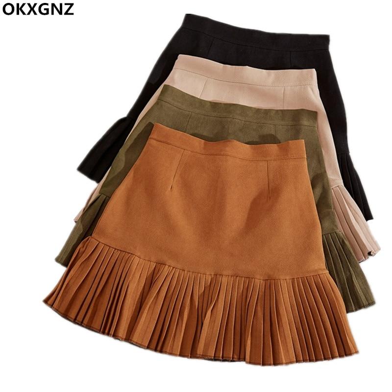 Spring Summer Suede Short Skirt Women 2017 New Fashion Costume High Waist Pleated Skirt Office Ladies Work Wear Step Skirt AH304