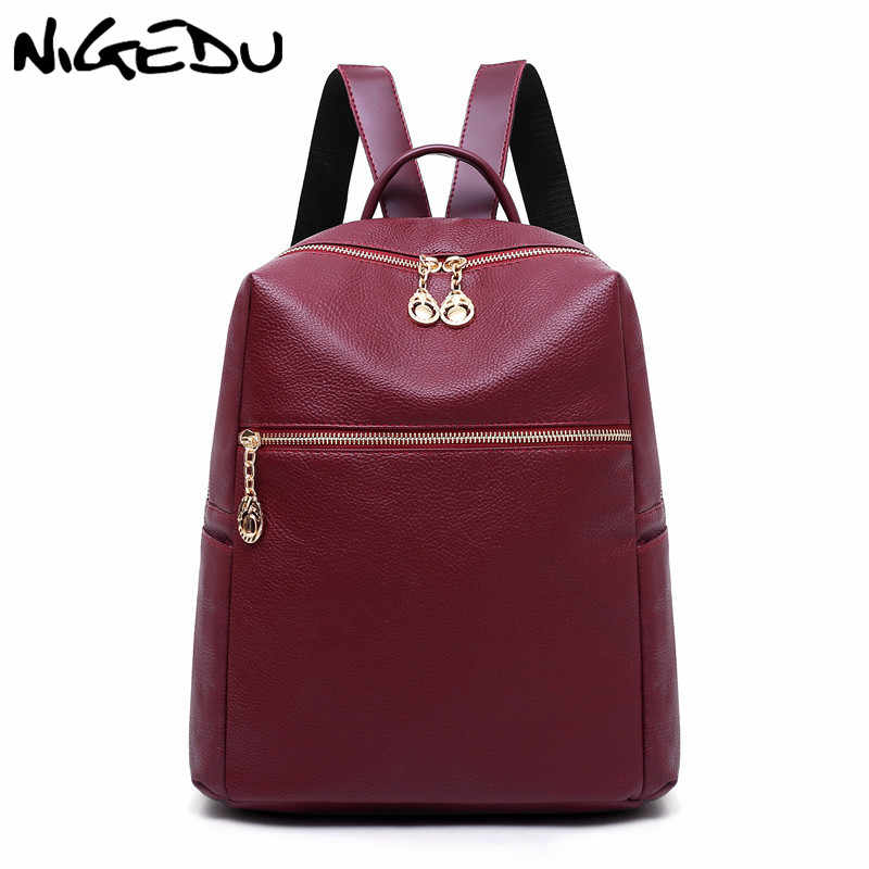 0d24dcea678a Простой Для женщин рюкзак большой емкости женский сумка Искусственная кожа  школьная сумка для девочек подростков путешествия