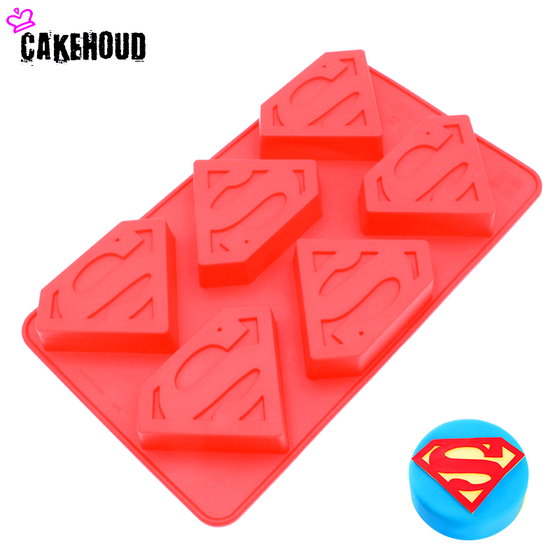 CAKEHOUD 6 Holes 3D Superman Hero S Logo Shape Silicone Mold Chocolate Mousse jelly Cake Tool Fondant Cake Decorating