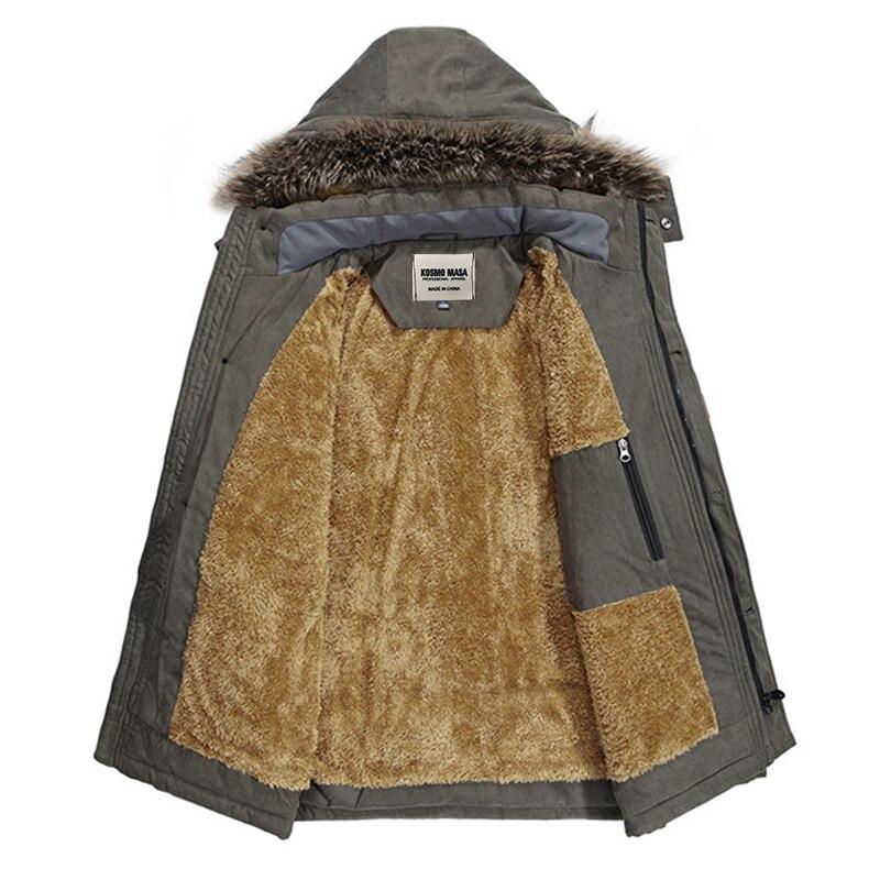 KOSMO MASA 2018 coton à capuche veste d'hiver hommes chaud 6XL longue Parka à capuche vestes homme manteaux décontracté fourrure vers le bas Parkas hommes MP012 - 3