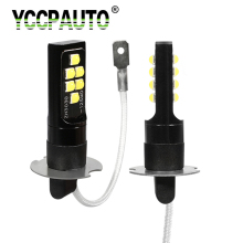 YCCPAUTO 2 шт. супер яркий H1 H3 Светодиодный лампочки Автомобильные противотуманные фары 3030 SMD 1200LM авто светодиодный головной фар дальнего света DRL белого и желтого цвета 12V