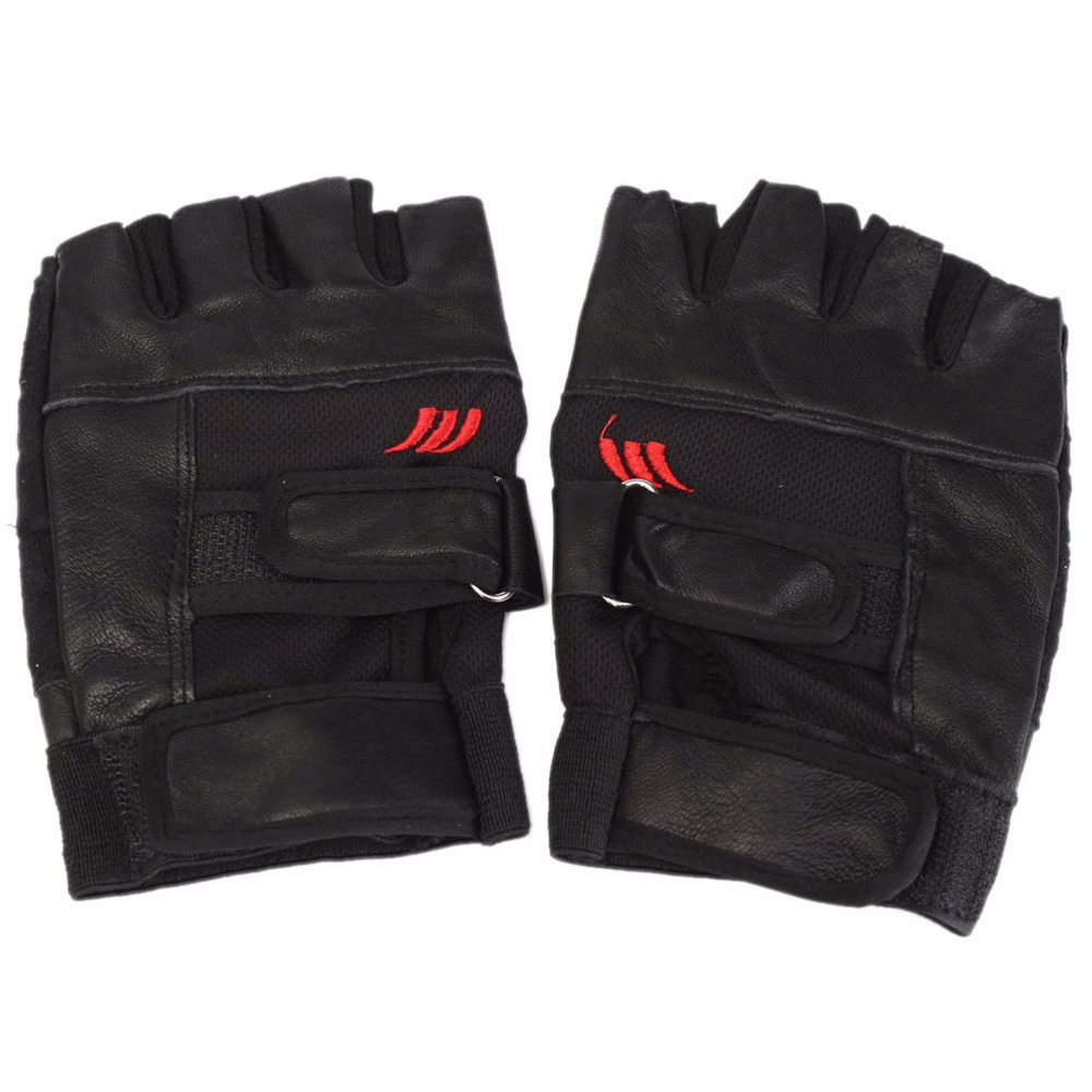 Weight Lifting Gloves Leather Fitness Gym Training Workout: 1Pair Black PU Leather Weight Lifting Gym Gloves Workout