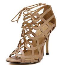 ขนาด4 ~ 9ขายลูกไม้ขึ้นรองเท้าส้นสูงผู้หญิงปั๊มเซ็กซี่G Ladiatorฤดูร้อนส้นรองเท้าผู้หญิงบางz apatos mujer (ตรวจสอบความยาวเท้า)