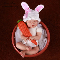 Jane Z Ann Baby bunny costume photography props newborn baby infant crochet rabbit outfit white pink bow hat+tail diaper+carrot