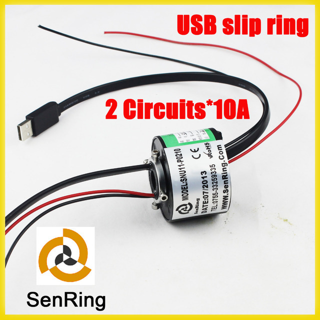 Through hole 12.7mm 2 circuits each 10A with 1 channel USB 2.0 slip ring
