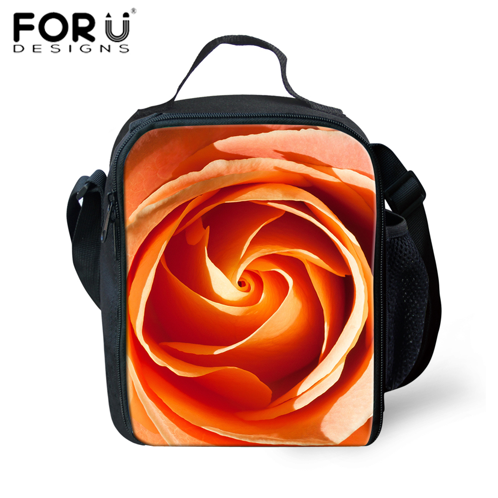 FORUDESIGNS Thermal Insulated Lunch Bag for Kids 3D Rose Sunflower Lunch Box School Work Picnic Women Handbag Thermo Food Bags