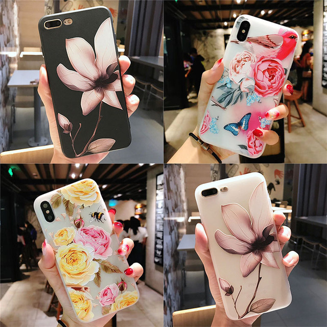 3D Shockproof Flower Silicone Case For iPhone