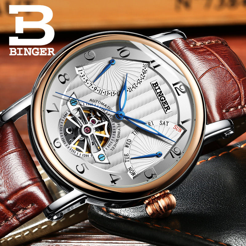 Switzerland BINGER Tourbillon Mechanical Watch Men Sapphire Calendar Week Luminous Genuive Leather Strap Big dial Montre