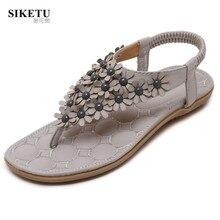 Bohemia Style Floral Women's Flip Flops 2017 Platform Sandals Women Flat Heel Beach Shoes Summer Sandal Female