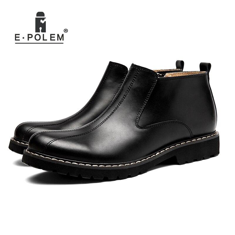 Do Sapatos dark 2017 Outono Couro Botas Inverno Homens Dos Vendas Black Quentes Grosso Juventude Moda Brown De Retro Ia7qR