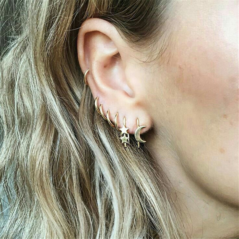 Fashion Jewelry Star Moon Small Hoop Earrings Set For Women Round Circle Earring Hoops Gold Color Womens Jewellery Accessories