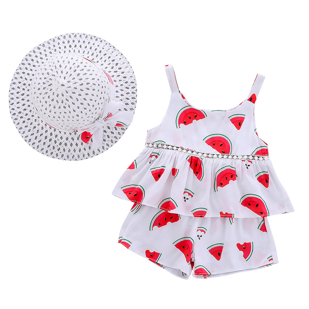 SZYADEOU Infant Toddler Kids Child Baby Strap Sets For Girls Summer Tops+Shorts+Hat 3Piece Baby Suit Clothing Clothes Outfits L4