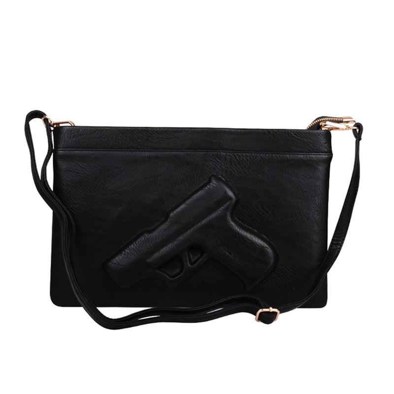 9cb7fe0b9c3 Fashion Women Shoulder Crossbody Bag 3d Gun Handbags Clutch Pu Leather  Pistol Bags Ladies Messenger Bag Envelope Tote