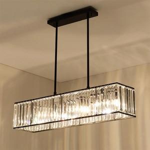 Image 1 - Jmmxiuz 3 אור אמריקאי בציר רטרו קריסטל נברשת תאורת חדר אוכל מסעדה תליית ברזל מוט תליון מנורה