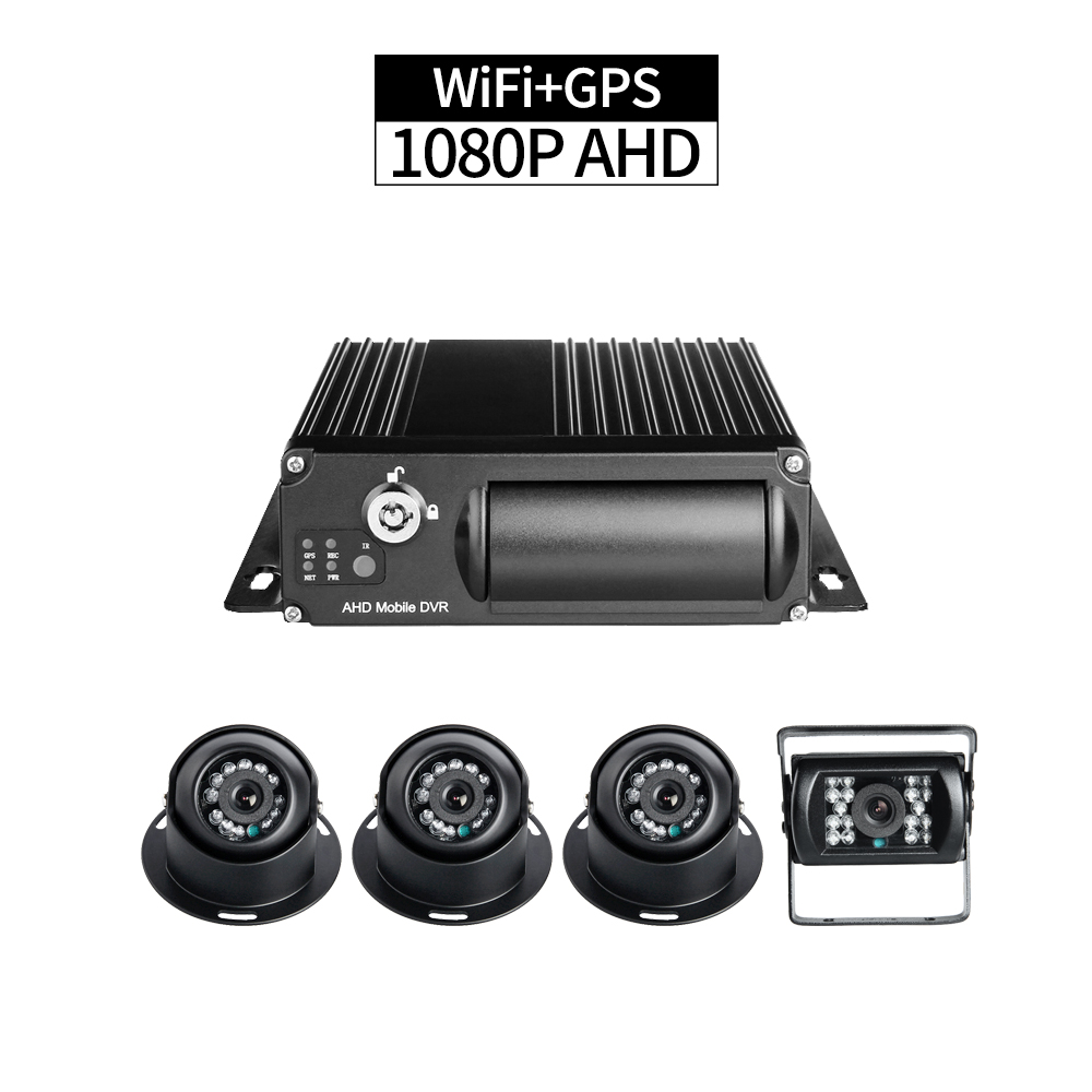 WiFi+GPS 4CH 1080P SD Mobile DVR for Truck 256G Cycle Recording with 4pcs AHD 2.0MP Cameras Remote Monitor GPS Track I/O Alarm WiFi+GPS 4CH 1080P SD Mobile DVR for Truck 256G Cycle Recording with 4pcs AHD 2.0MP Cameras Remote Monitor GPS Track I/O Alarm