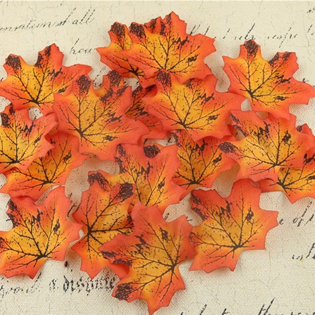 100Pcs/lot Artidicial Silk Maple Leaves Multicolor Fake Fall Leaf For Art Scrapbooking Wedding Party Decoration Craft