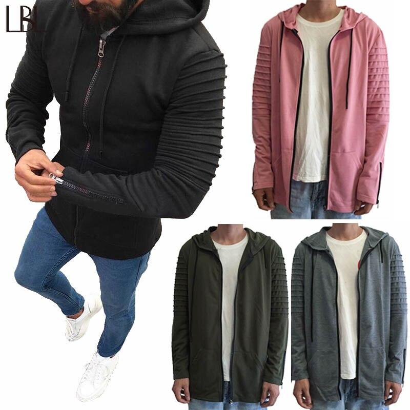 Solid Hoody Men Hip Hop Casual Mens Hoodies Zipper Streetwear Brand Clothing Mans Sportswear Hooded Sweatshirt oversized Jacket