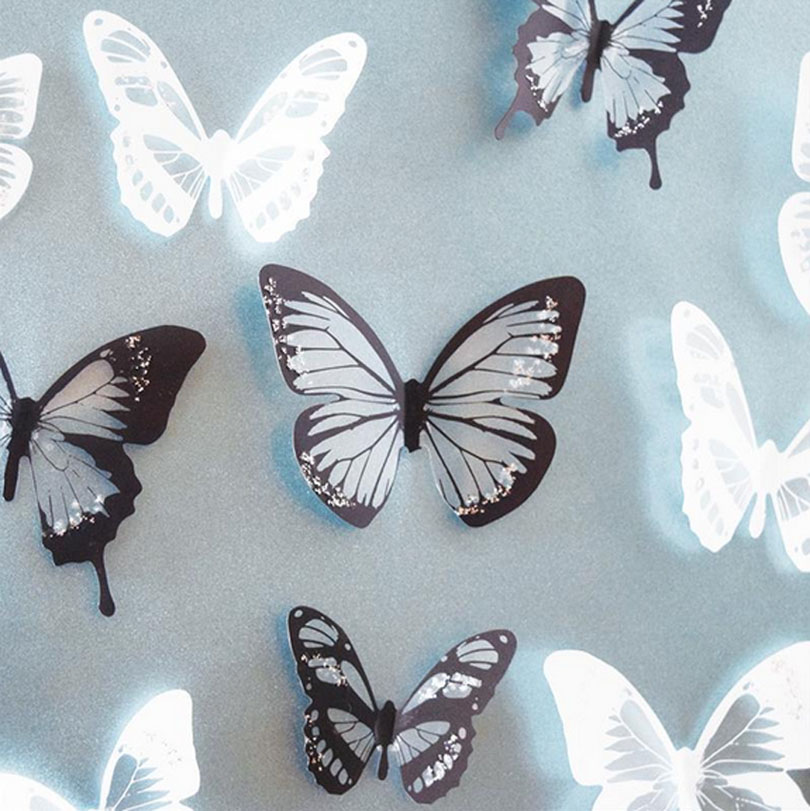 18pcs Pvc 3d Wall Stickers Poster Black White Crystal Butterfly Rh Aliexpress Com