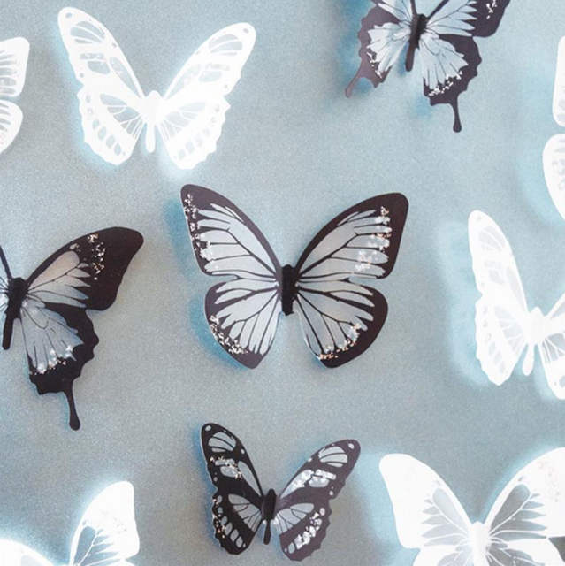 18pcs Pvc 3d Wall Stickers Poster Blackwhite Crystal Butterfly Decal Diy Waterproof Home Wallpaper Paster
