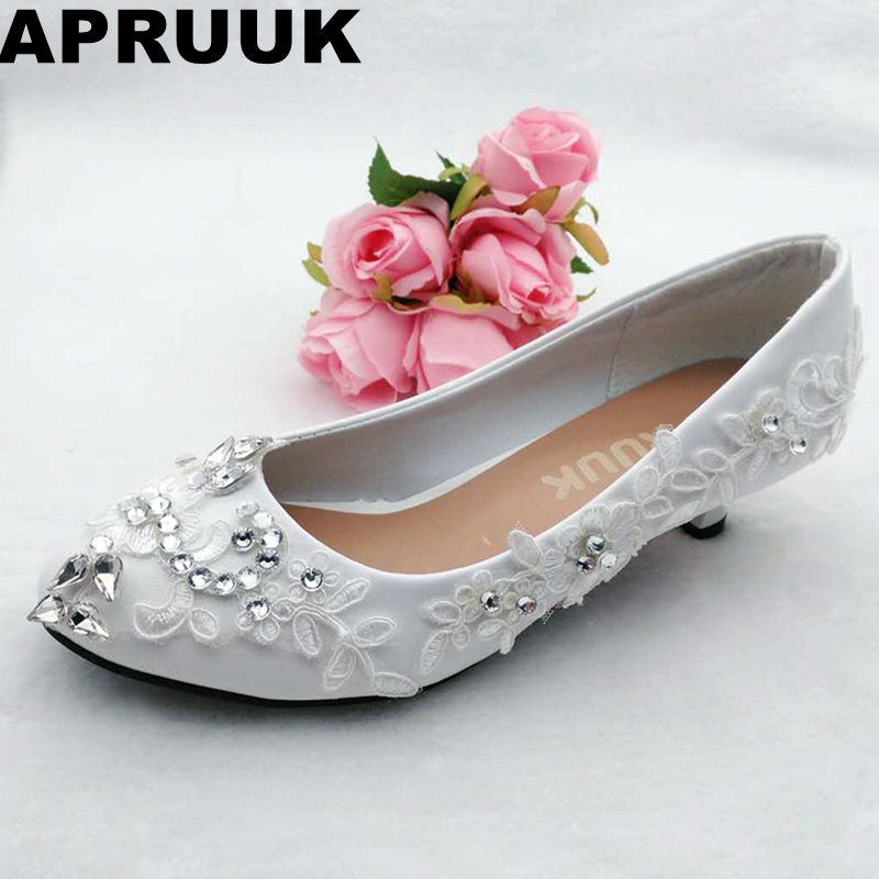 362e0c5884 Women's wedding shoes white lace silver rhinestones fashion bridal pumps  shoes lady sweet handmade low high heel bridesmaid shoe-in Women's Pumps  from ...