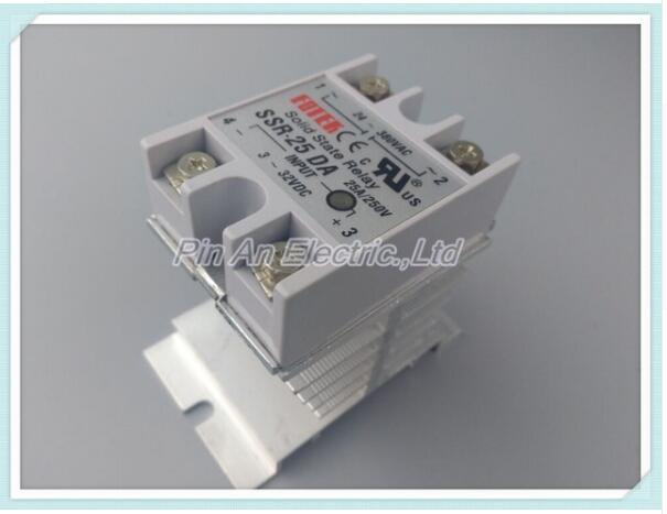 1pcs Solid State Relay Module SSR-25DA 25A /250V 3-32V DC Input 24-380VAC Output+Heat Sink SSR25DA 2017 new 250v 2a 8 channel omron ssr g3mb 202p solid state relay module for arduino mfbs